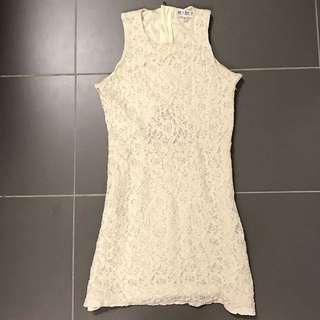 Cream colour mini dress (Stretchable up to 6cm difference)