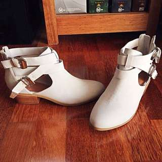 Urge Ivory Suede Buckle Boots Size 37