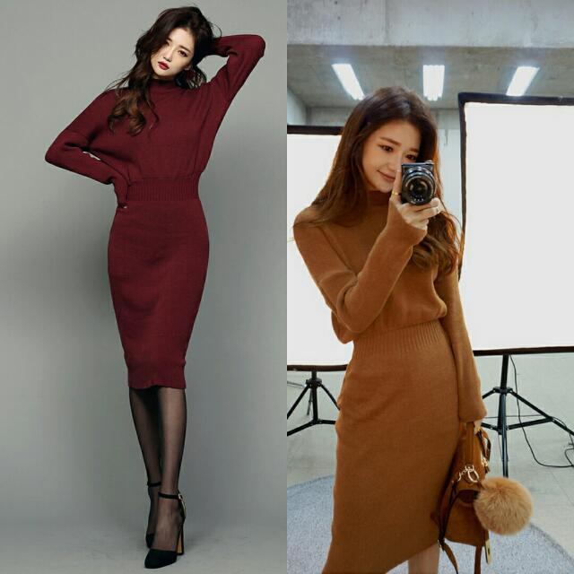 新款修毛衣身氣質半高領長袖包臀彈力螺紋針織連身裙洋裝