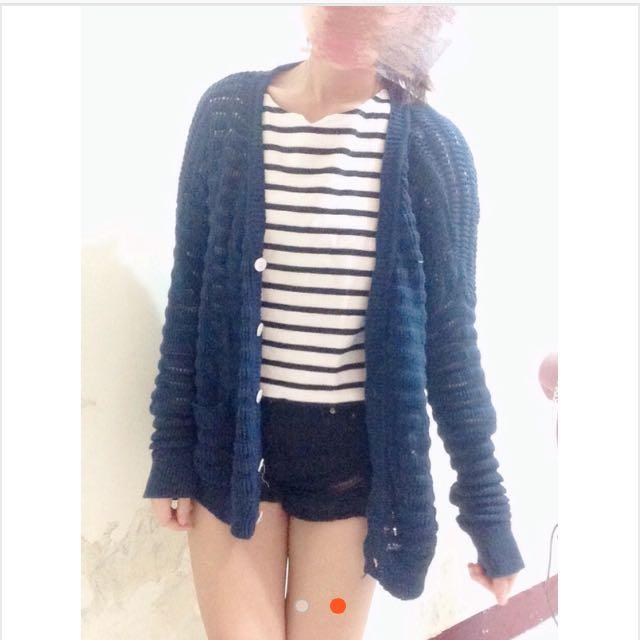 深藍針織外套