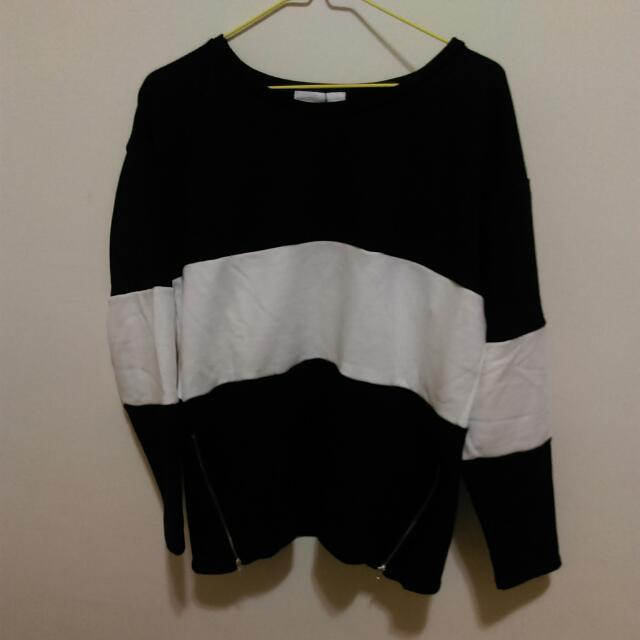 黑白條紋寬鬆上衣(秋季衣)