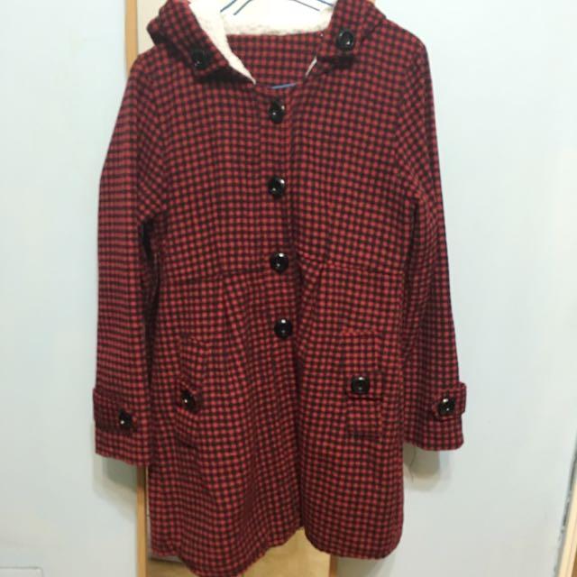 紅黑格紋刷毛外套