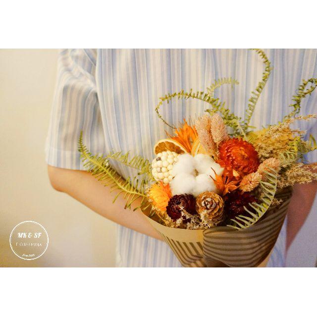 【 MK & SF 花式狂想 】**豐收果實花束**  萬聖節, 七夕, 乾燥花, 情人節, 新年, 花圈, 花環, 捧花, 禮物, 婚禮