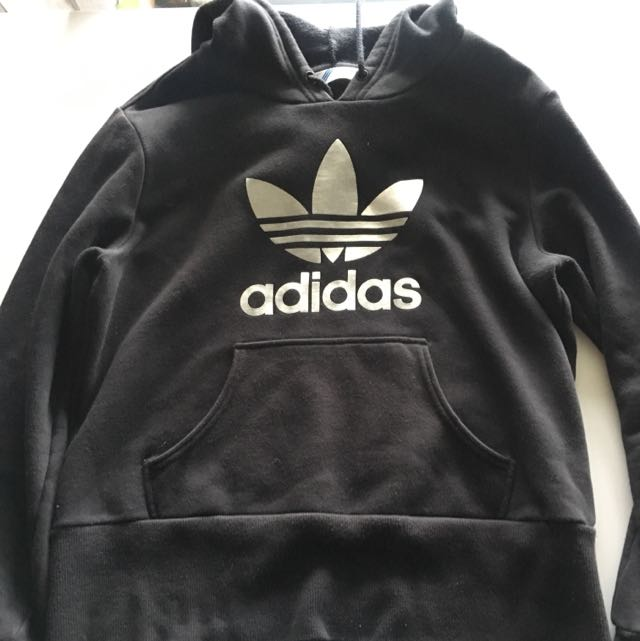 Adidas Black/silver Hoodie Size 14