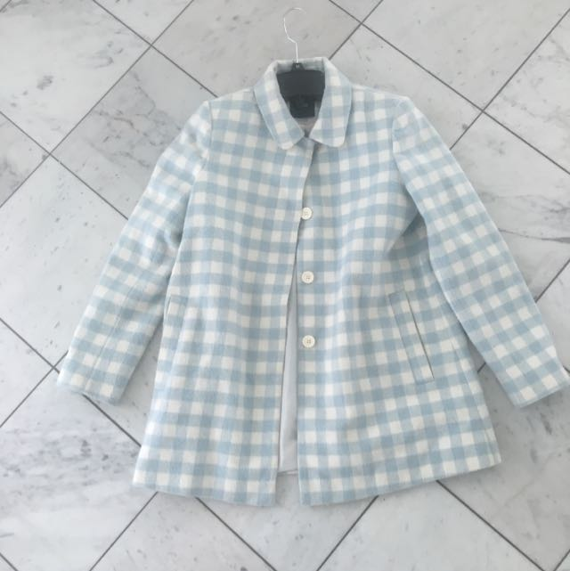 Asos Pale Blue And White Check Coat (wool)