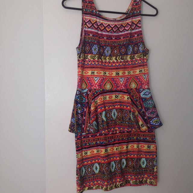 Aztec Print Peplum Dress