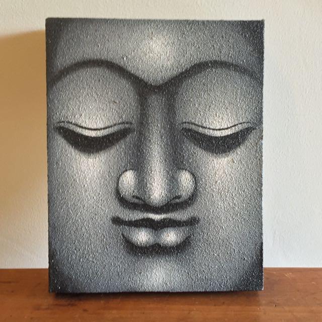 Balinese Grey Buddha Painted Canvas