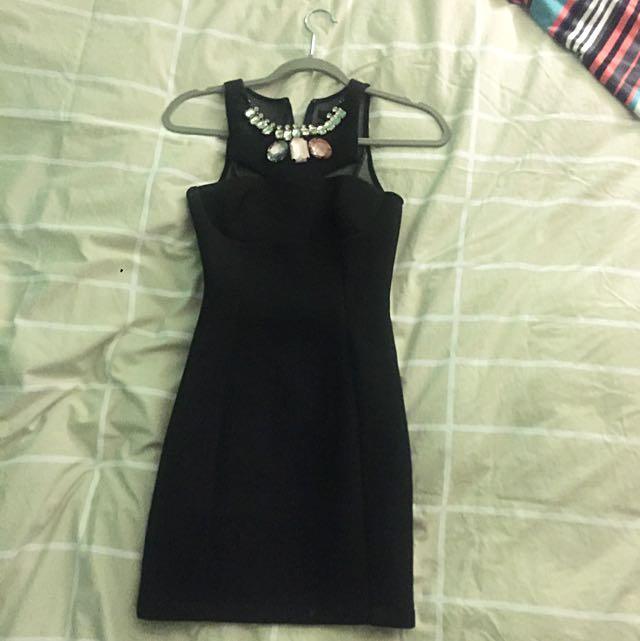 Black Dress With Removal Neckpiece