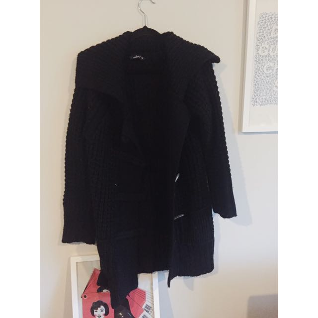 Black Knitted Coat