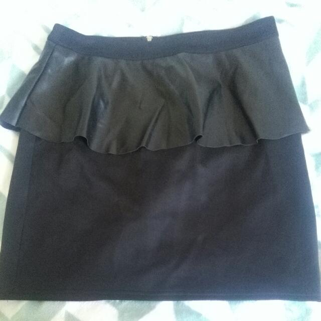 Black Leather Peplum Skirt