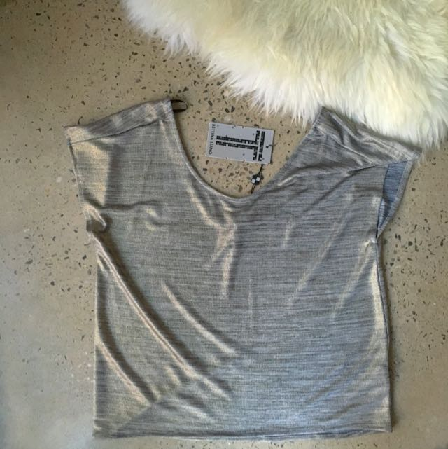 BNWT T By bettina Liano Silver Reflective Top