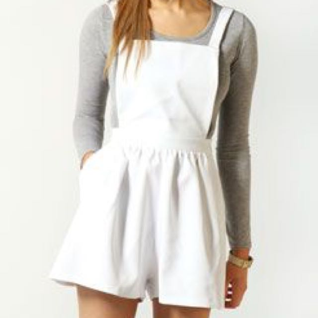 Boohoo White Dungaree Culottes Overalls