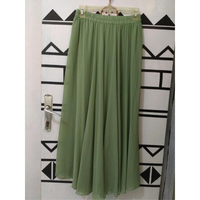 [Matcha Green] Chiffon Long Skirt