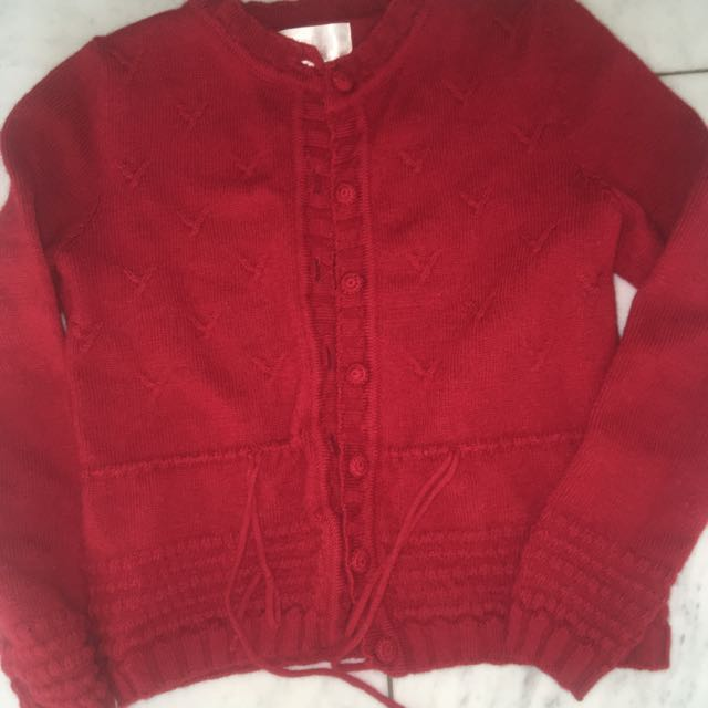 Deep Red Wool Cardigan Size M