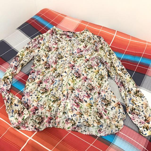 REPRICED FLoral Spike Blouse Zara Women Original