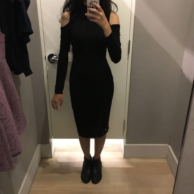 Forever 21 全黑針織露肩長版洋裝