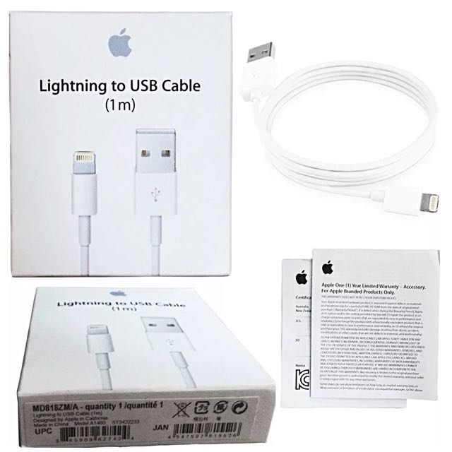 Genuine 1M iPhone 5 6 7 iPad Pro USB Data Cable