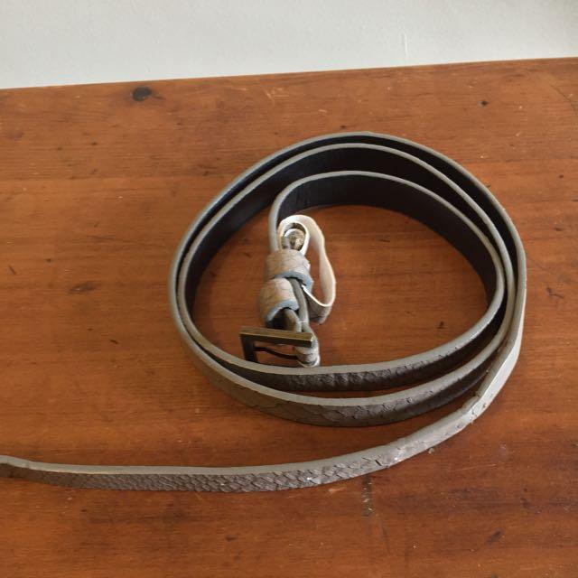 Grey Snakeskin Skinny Belt