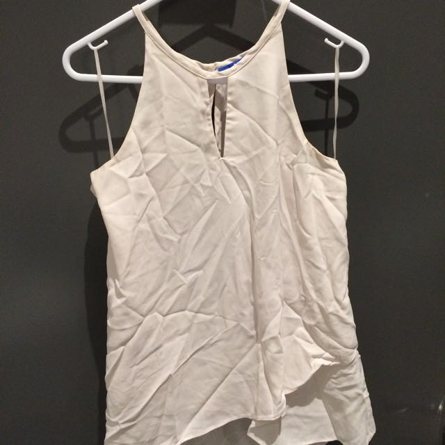 High Neck White Singlet Top (size 8)