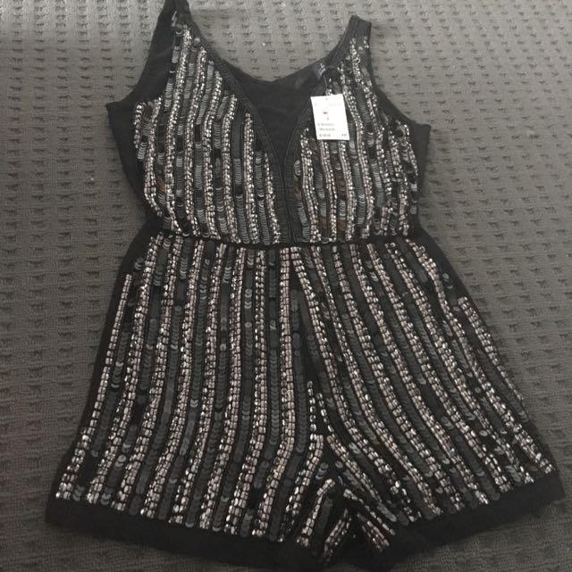 H&M Black Sequin Playsuit