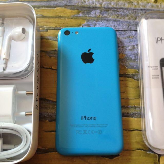 iPhone 5c 32GB Blue, Fullset, Mulus, Fungsi Oke Semua