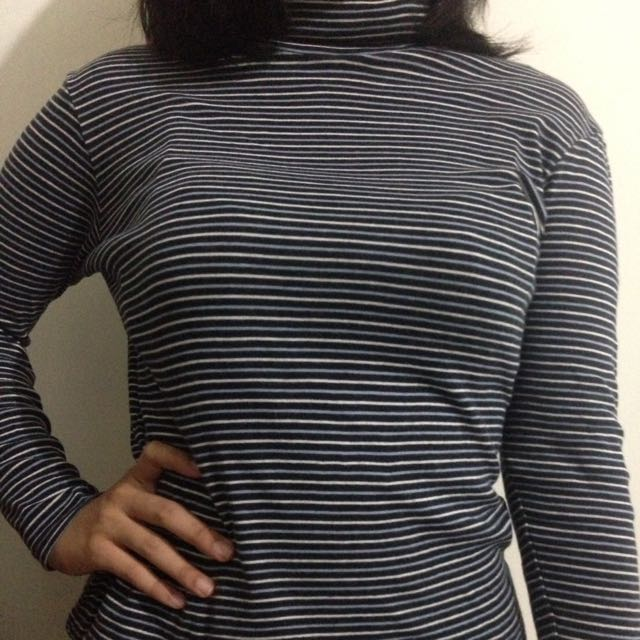 Long Stripe Turtleneck