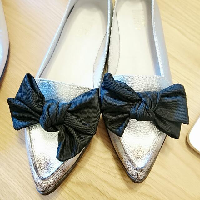 <Magic Mirror> 36號銀色真皮女鞋