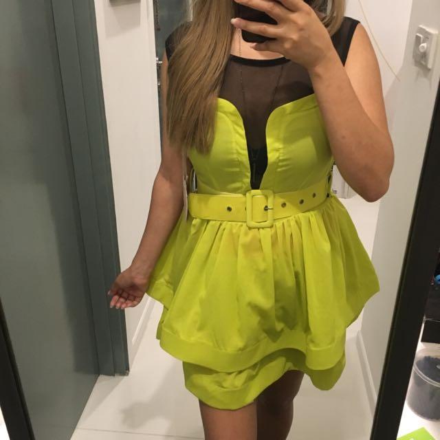 Neon Green Mesh Dress
