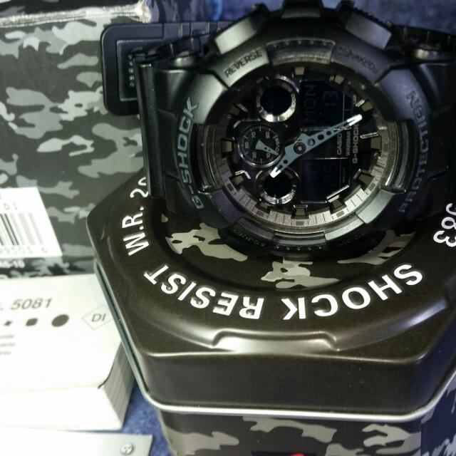 Original G-Shock GA-100CF Camo Series Matte Black Mens Military Watch Gshock