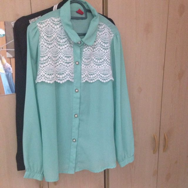 Preloved Blouse Turqoise