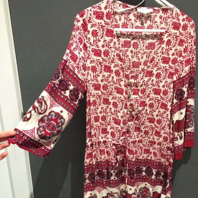Red Boho Playsuit (size 8)