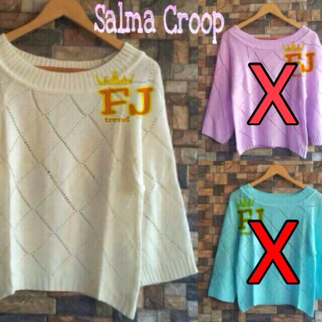 salma crop atasan sweater crop PUTIH