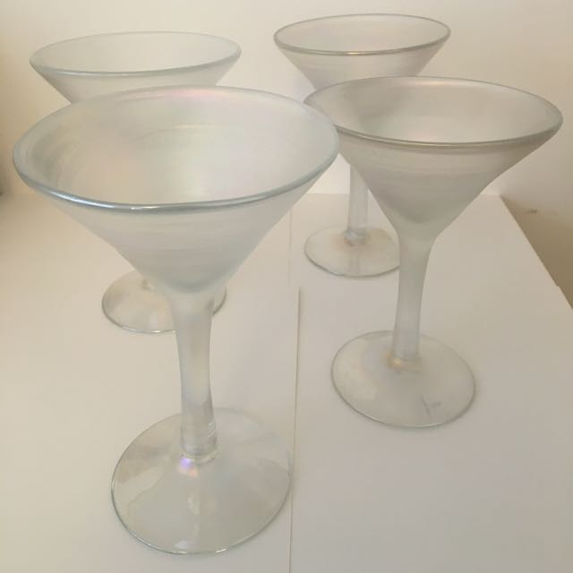 Silvestri Set Of Mouth Blown Iridescent Martini Glasses