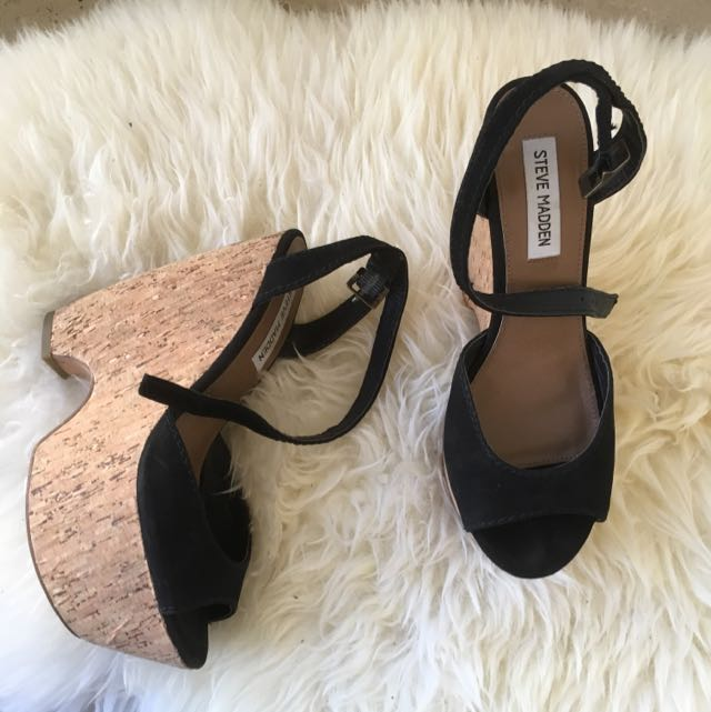Steve Madden Cork Wedges Sz 8