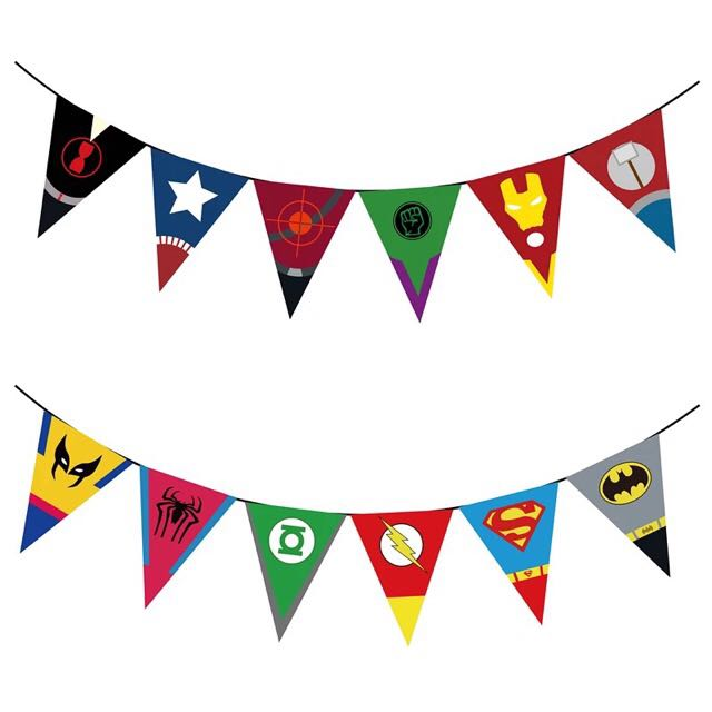 Superhero Logo Symbols Banner Bunting Flags. Room Decoration Party Supplies Avengers Marvels Batman