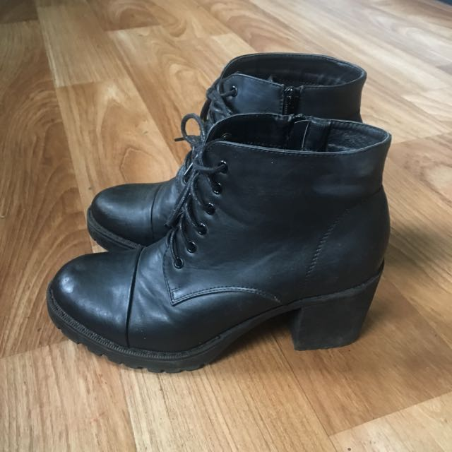 THERAPY Heeled Black Boots Zip Up