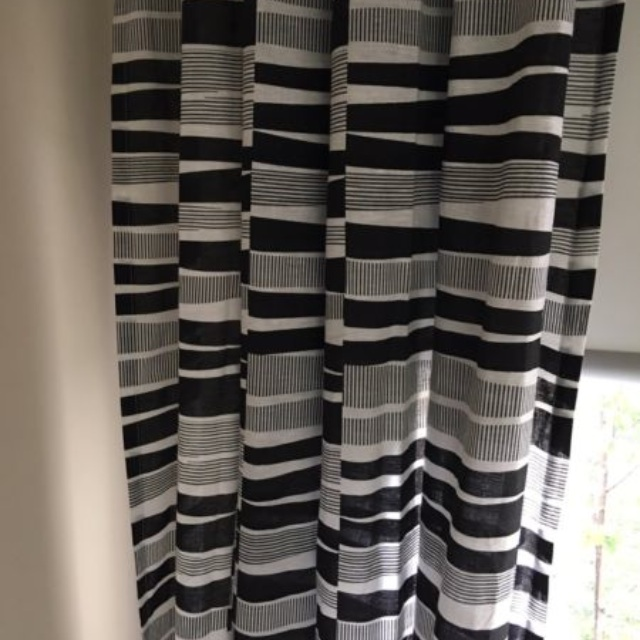 Two curtains - eyelet, black and white