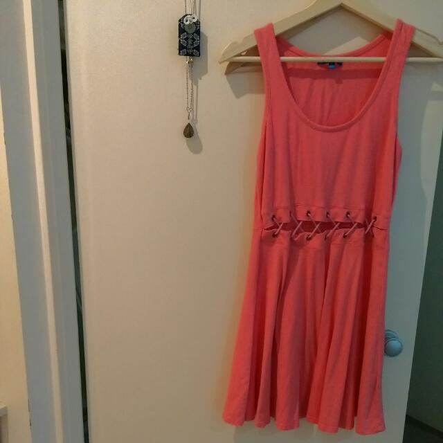 Valleygirl Coral Dress With Waist Cut Out