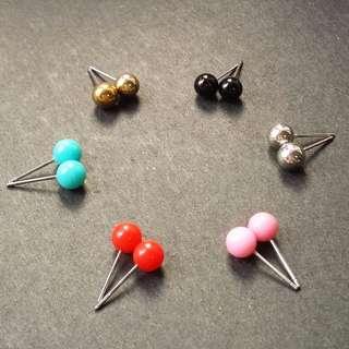 簡簡單單小巧彩球兒耳環/耳夾