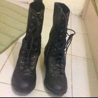 黑色Asos中筒靴40號