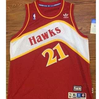 【NBA 青年版(女孩版)】老鷹隊  威金斯WILKINS  復古紅  電繡
