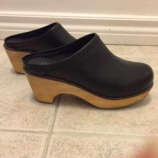 BDG Black Leather Clogs