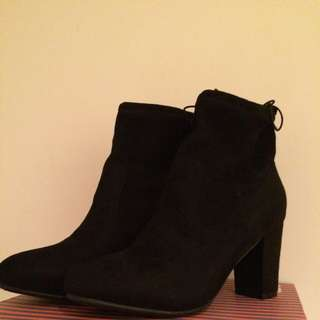 Black Faux Suede Booties