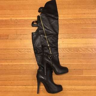 Black Leather Knee High Boots