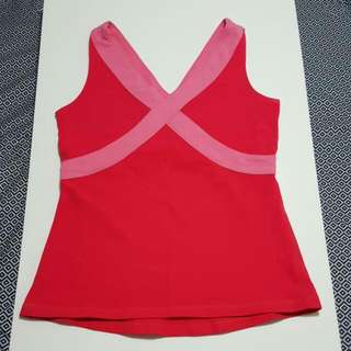 LULULEMON Pink with Crossed Pattern Tank Top with deep V neck-Size L