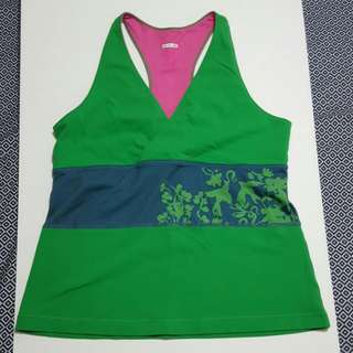 LULULEMON Green with embellishment Tank Top with deep V neck-Size L