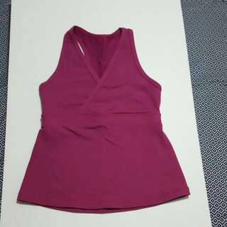 LULULEMON Pink Tank Top with deep V neck-Size 8
