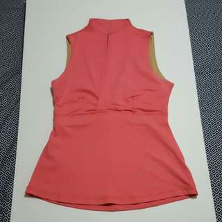 LULULEMON COOLMAX Yoga Mandarin High Collar Pink Bra Tank Top V Neck-Size 8