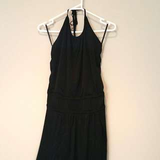 Sexy Back Halter Neck Black Dinner Dress (Short)