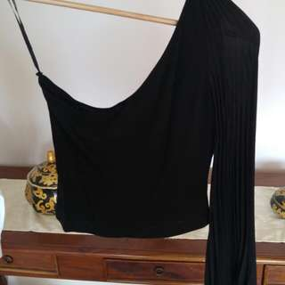 Christopher Chronis One Shouldered Top With Pleated Arm